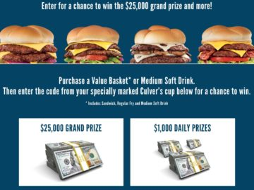 Culver's ButterBurger Believe It Sweepstakes and Instant Win (Limited States/Code)