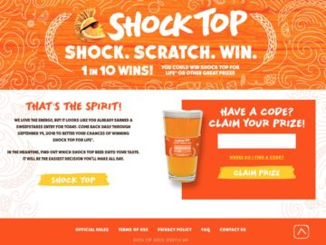 Win Shock Top Beer for Life!