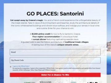 GO PLACES: Santorini Sweepstakes