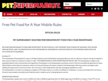 Pet Supermarket Pet Food for a Year Sweeps (Text Entry Only)