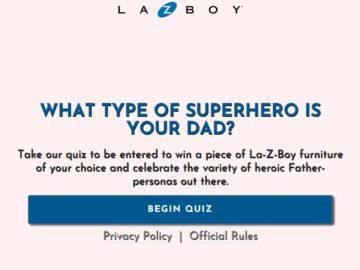 La-Z-Boy Superhero Dad Quiz Sweepstakes