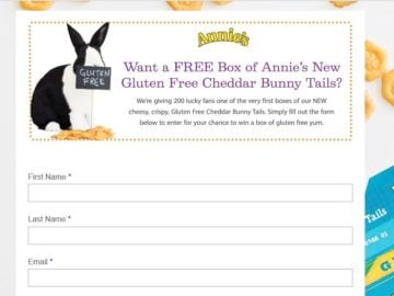 Annie's Gluten Free Cheddar Bunny Tails Sweepstakes