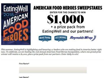 EatingWell American Food Heroes Sweepstakes