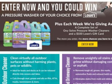OXY Solve Pressure Washer Cleaner Sweepstakes