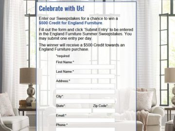 England Furniture Summer 2018 Sweepstakes