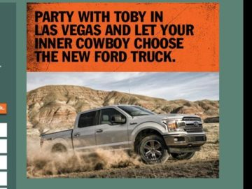 Ford Toby Keith 'Should've Been A Cowboy' Sweepstakes