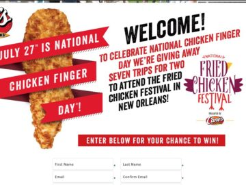Raising Cane's Chicken Fingers Fried Chicken Festival Flyaway Sweepstakes