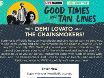 iHeartRadio Good Times and Tan Lines with Demi Lovato & The Chainsmokers Sweepstakes