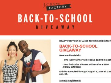 343e60bc3cf919 J.Crew Factory BACK-TO-SCHOOL Sweepstakes