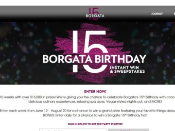 Borgata 15 Sweepstakes and Instant Win Game