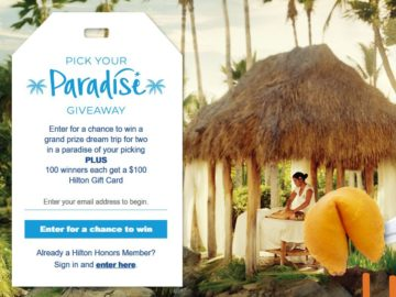 Hilton Honors Pick Your Paradise Sweepstakes