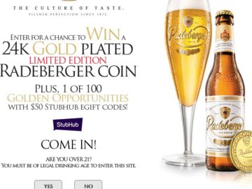 """Radeberger """"Gold Standard"""" Sweepstakes and Instant Win Game"""
