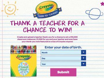 "Crayola ""Thank a Teacher"" Sweepstakes"