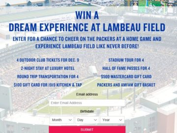 American Family Insurance Green Bay Packer Lambeau Experience Sweepstakes (Limited States)