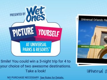 Wet Ones Picture Yourself at Universal Parks & Resorts Sweepstakes