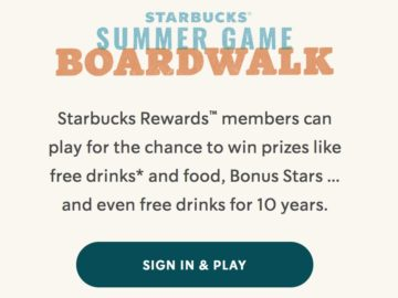 Starbucks Summer Game Boardwalk (Existing Starbucks Rewards Members)