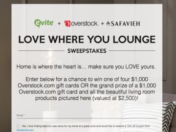 Evite Overstock Love Where You Lounge Sweepstakes
