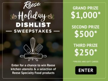 Reese Foods Holiday Dish List Winter Sweepstakes