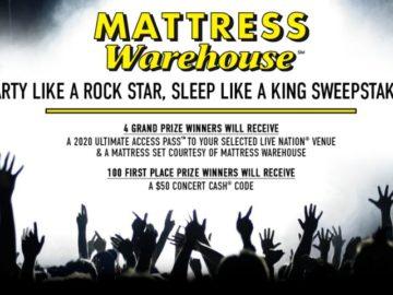 Mattress Warehouse Party Like a Rock Star Sleep Like a King 2020 Sweepstakes (Limited States)