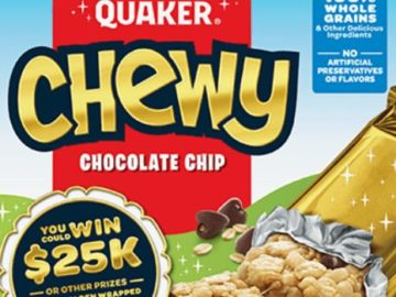 Quaker Chewy Golden Wrapper Instant-Win Game (Code/Mail-In)