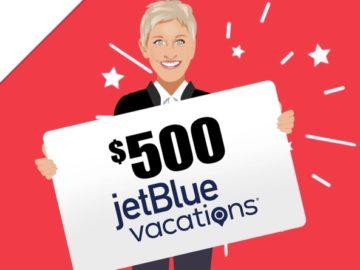 Ellen's $500 JetBlue Vacations Gift Card Giveaway