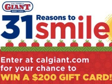 "The California Giant ""31 Reasons to Smile"" Sweepstakes"